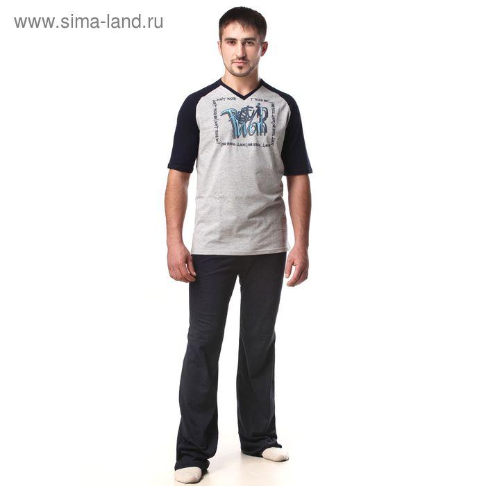 Пижама мужская (футболка, брюки) М-567-09 меланж, р-р 54