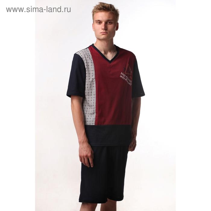 Пижама мужская (футболка, шорты) М-5570-09 бордо, р-р 56