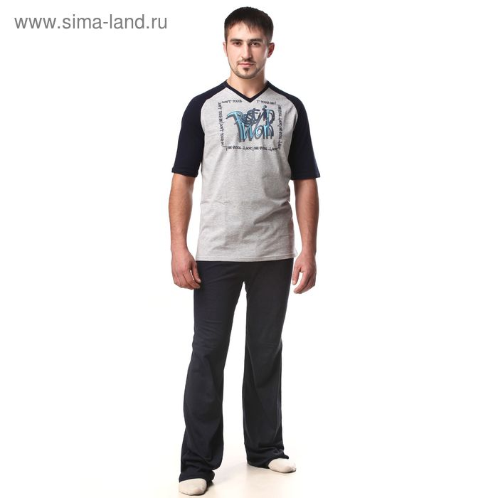 Пижама мужская (футболка, брюки) М-567-09 меланж, р-р 48