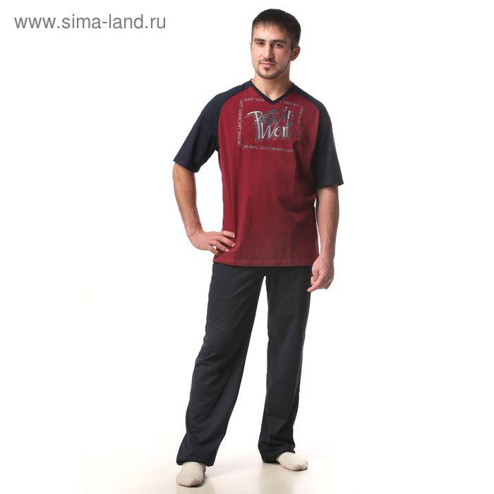 Пижама мужская (футболка, брюки) М-567-09 бордо, р-р 50