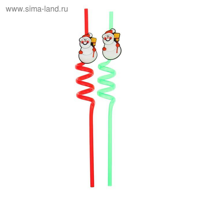 """Трубочка для коктейля """"Снеговик"""", набор 2 шт., цвета МИКС"""