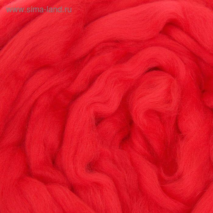Шерсть для валяния полутонкая, красный, 100 г