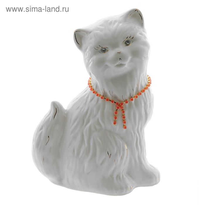 "Копилка ""Кошка Сима"" глянец, белая, цепочка"