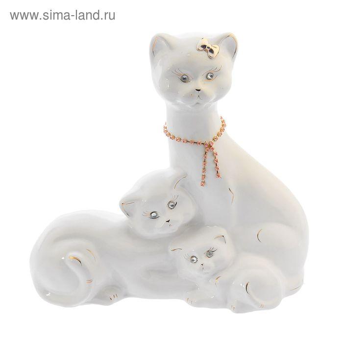 """Копилка """"Семейство котиков"""" средняя, глазурь, белая"""