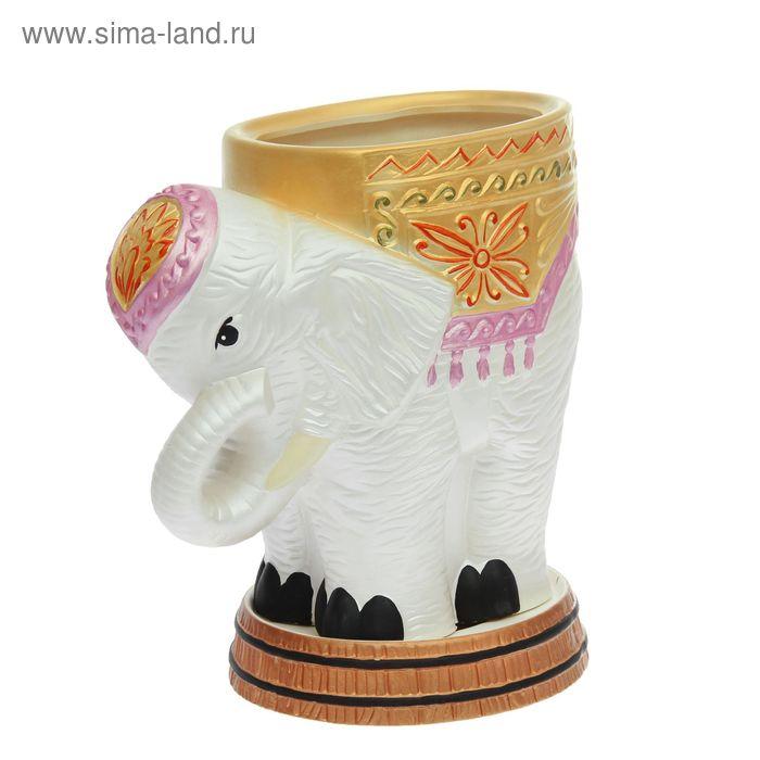 """Фигурное кашпо ''Слон"""" среднее, белое, акрил, 7 л"""