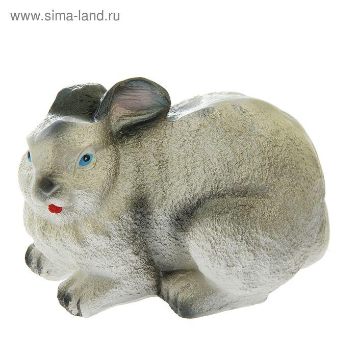 """Садовая фигура """"Лежащий серый заяц"""""""