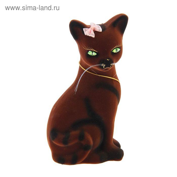"""Копилка """"Кошка Лиза"""" малая, флок, коричневая"""