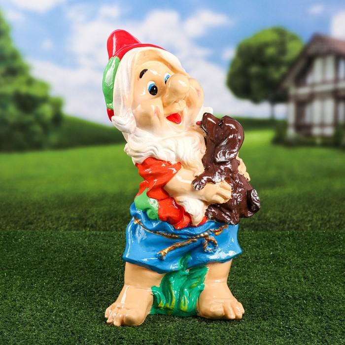 """Садовая фигура """"Гном с собакой"""", 46 см"""