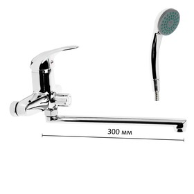 Cмеситель для ванны Accoona A7140, однорычажный, излив 330 мм, с душевым набором, хром