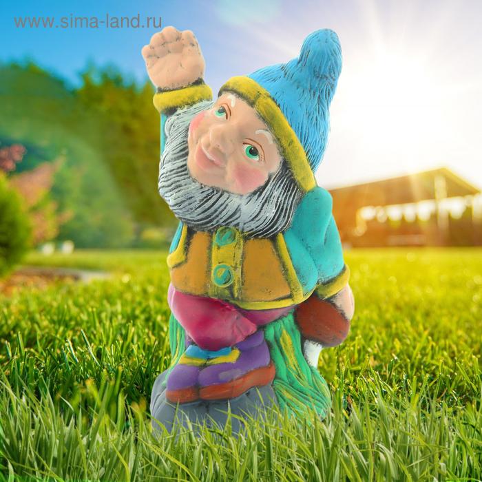 """Садовая фигура """"Гном Весельчак"""" рисунок, голубой колпак"""