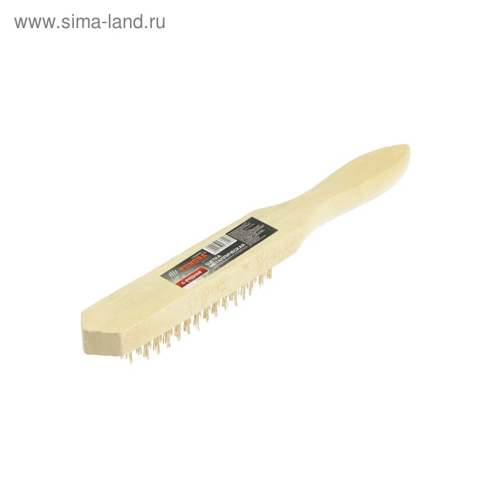 Щетка металлическая TUNDRA, ручная деревянная рукоятка 4-рядная