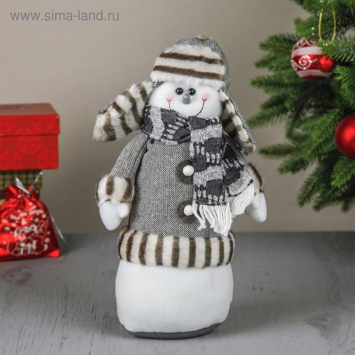 """Мягкая игрушка """"Снеговик в серой шубке"""""""