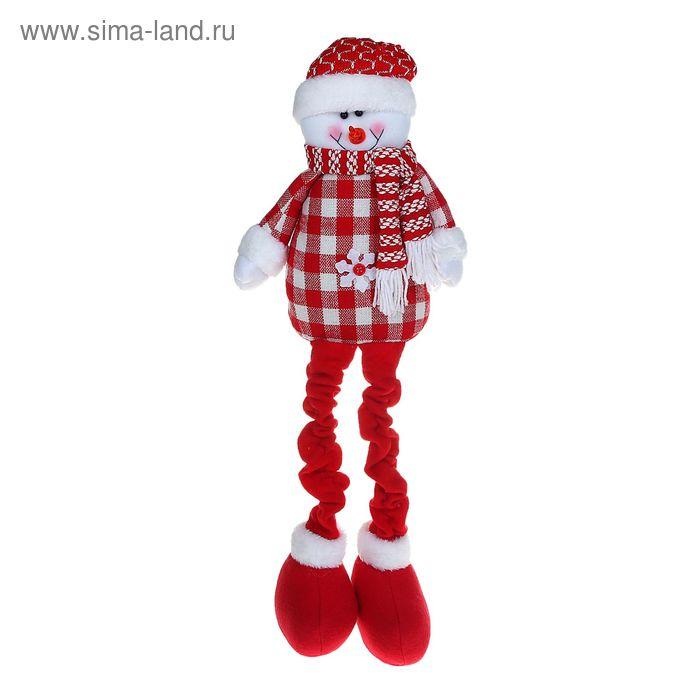 """Мягкая игрушка """"Снеговик"""" (красная клеточка, длинные ножки)"""