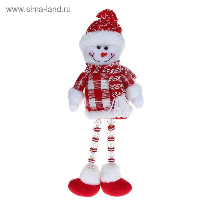 """Мягкая игрушка """"Снеговик"""" (красная клеточка, ножки-бусинки)"""