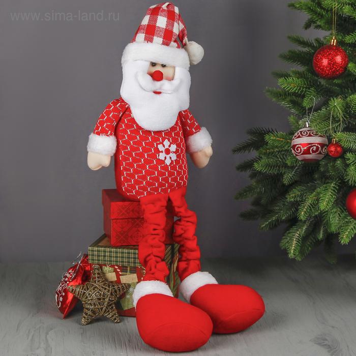 """Мягкая игрушка """"Дед Мороз"""" (красно-белая клеточка, длинные ножки)"""