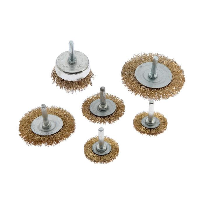 Набор щеток металлических TUNDRA, для дрели 6 пр, 40, 50, 65, 75, 100 мм плоские, 50 мм чашка 103