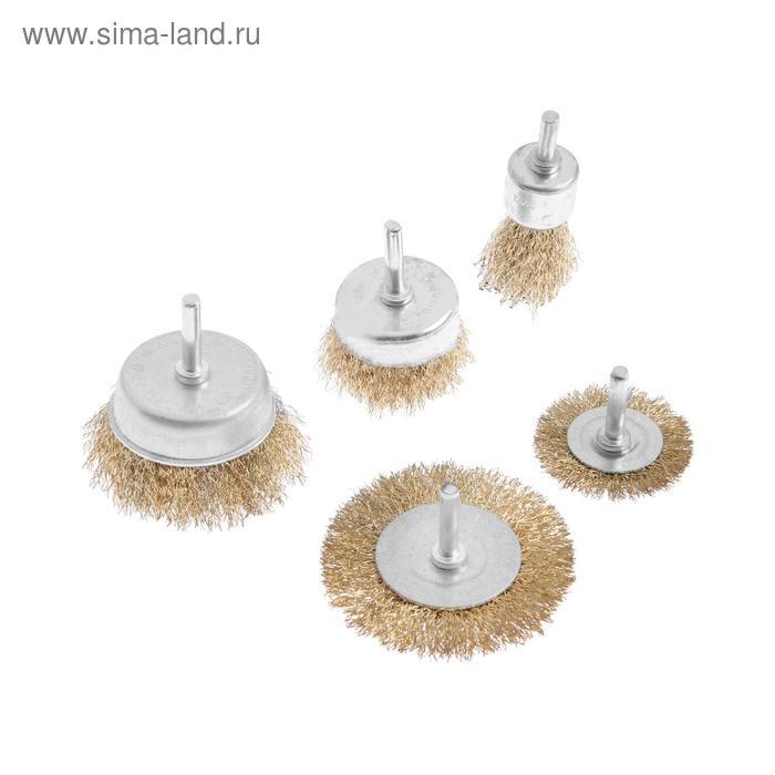 Набор щеток металлических TUNDRA, для дрели 5 пр, 50, 75 мм плоские, 25, 50, 75 мм ча 103238