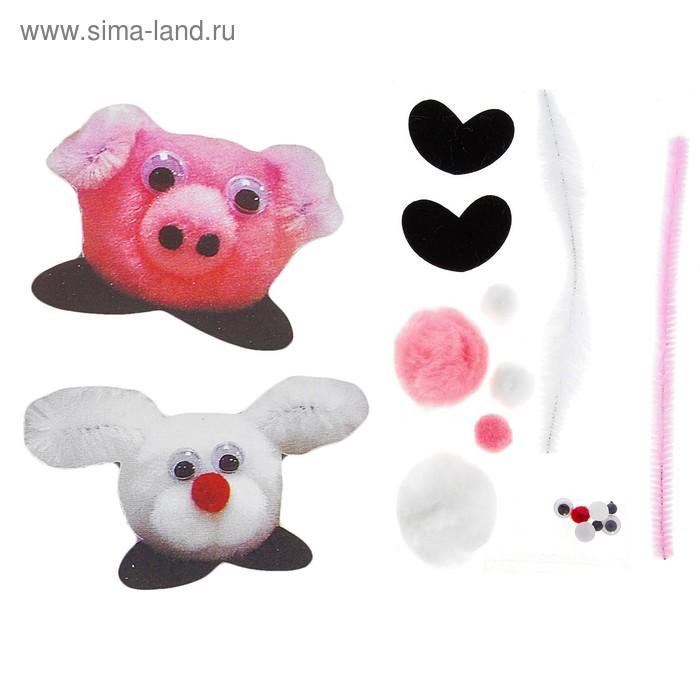 """Набор для творчества """"Наклейка зайчик, свинка"""" 2 шт"""
