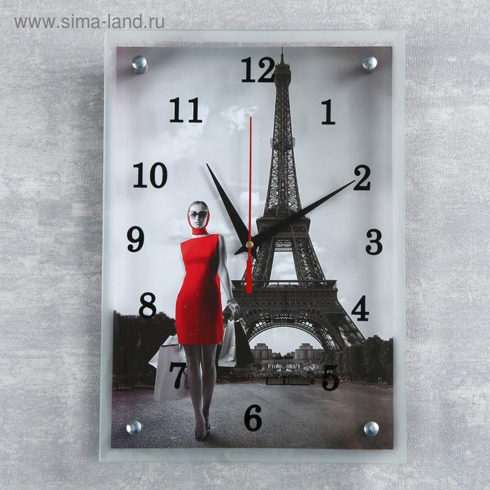 """Часы настенные прямоугольные """"Девушка в красном платье в париже"""",  микс 25х35 см"""