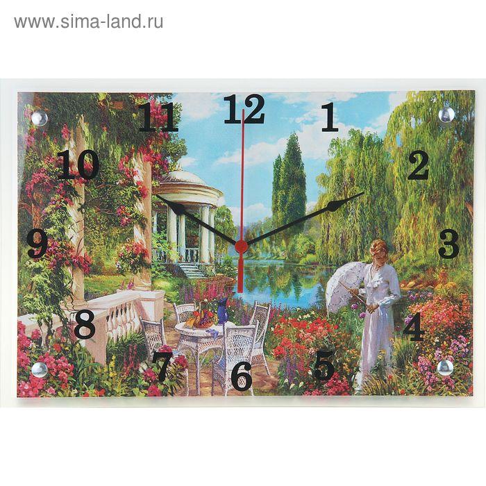"""Часы настенные прямоугольные """"Девушка в саду"""", 25х35 см"""