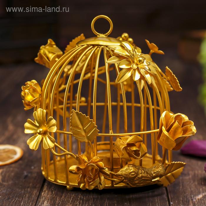 """Подсвечник на 1 свечу """"Золотая клетка"""""""