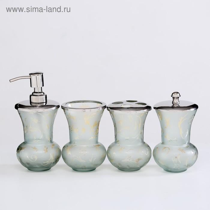 """Набор для ванны """"Переливы"""", 5 предметов: дозатор, мыльница, 3 стакана"""