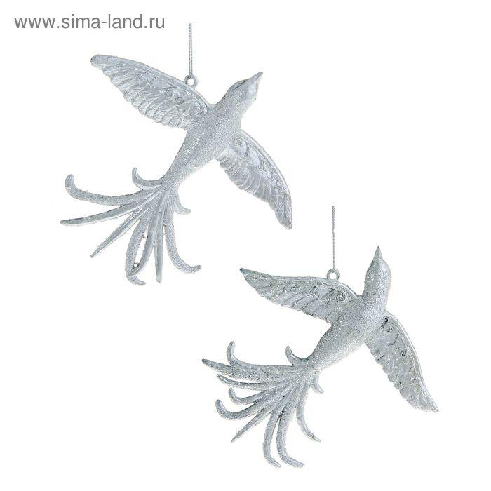 """Ёлочная игрушка """"Серебряная птица счастья"""" микс"""