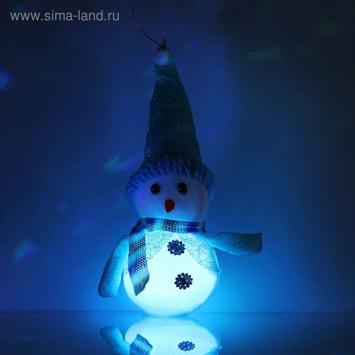 "Игрушка световая ""Снеговик в пальто"" (батарейки в комплекте) 8х20 см, 1 LED RGB, СИНИЙ"