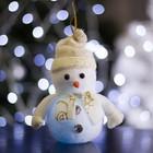 """Игрушка световая """"Снеговик праздничный"""" (батарейки в комплекте) 8х15 см, 1 LED RGB, БЕЛЫЙ"""