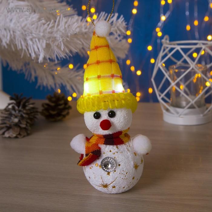 "Игрушка световая ""Снеговик в желтой шапочке"" (батарейки в комплекте) 6х17 см, 1 LED RGB"