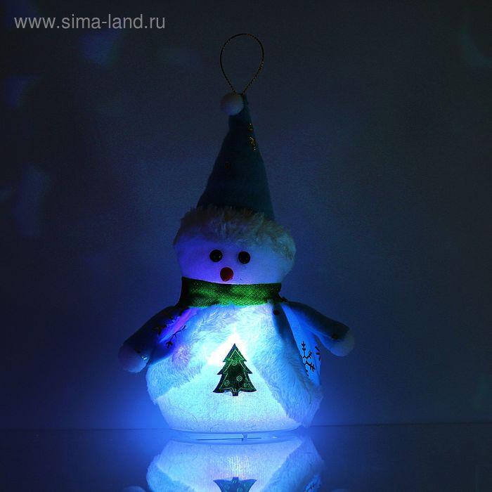 "Игрушка световая ""Снеговик с ёлкой"" (батарейки не в комплекте) 18х27 см, 1 LED RGB, СИНИЙ"