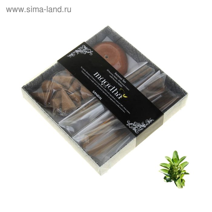 Набор 30 палочек Масала, 16 конусов, подставка, аромакамни, 2х5 мл аромамасло Сандал