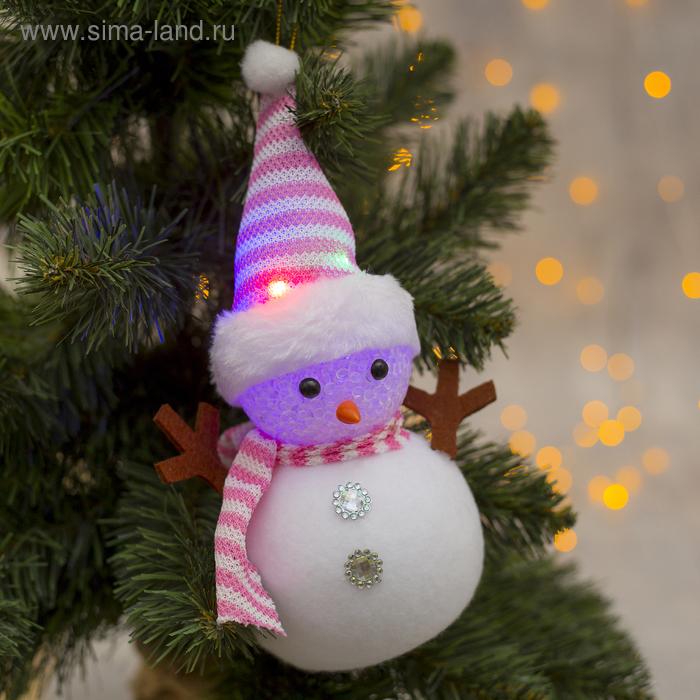 """Игрушка световая """"Снеговик в полосатой шапочке"""" 16х23 см, 1 LED RGB, РОЗОВЫЙ"""