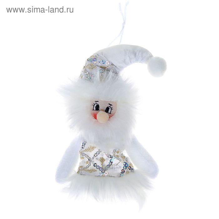 """Мягкая ёлочная игрушка """"Дед Мороз в платьице с белыми пайетками"""""""