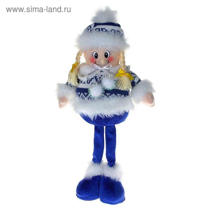 """Мягкая игрушка """"Девочка в бело-синем свитерке"""" (длинные ножки)"""
