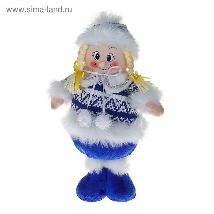 """Мягкая игрушка """"Девочка в бело-синем свитерке"""" (на ножках)"""