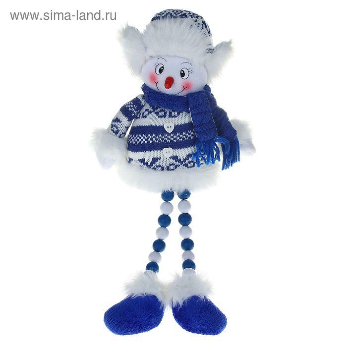 """Мягкая игрушка """"Снеговик в бело-синем свитерке"""" (ножки-бусинки)"""