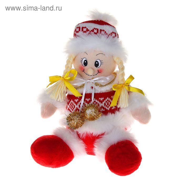 """Мягкая игрушка """"Девочка"""" (бело-красный свитерок, сидит)"""