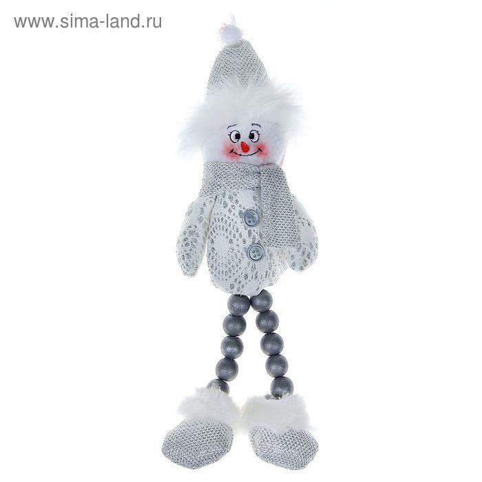 """Мягкая игрушка """"Снеговик"""" белые кружева, ножки-бусины"""