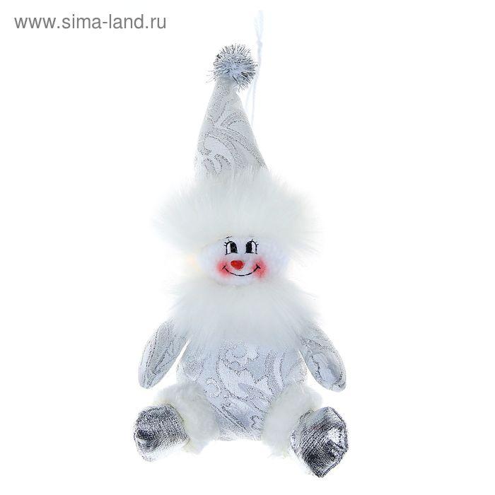 """Мягкая ёлочная игрушка """"Снеговик"""" серебристые кружева"""