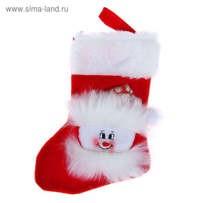 """Носок для подарка """"Снеговик"""" (красный, пушистый)"""