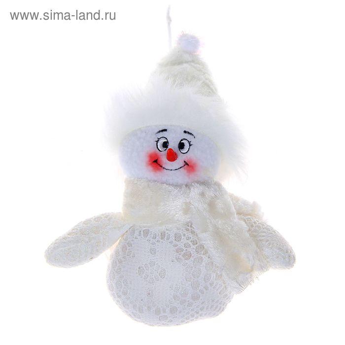 """Мягкая ёлочная игрушка """"Снеговик"""" белые кружева"""