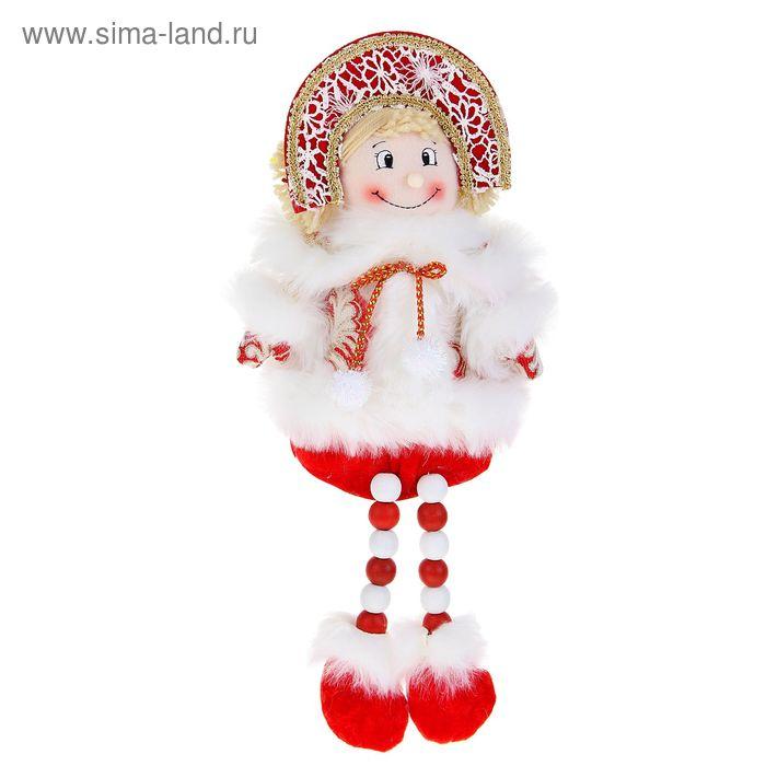 """Мягкая игрушка """"Снегурочка"""" (красная, кружевная, ножки-бусины)"""