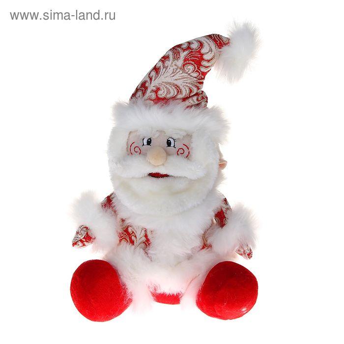 """Мягкая игрушка """"Дед Мороз"""" (кружевной, красный, сидит)"""