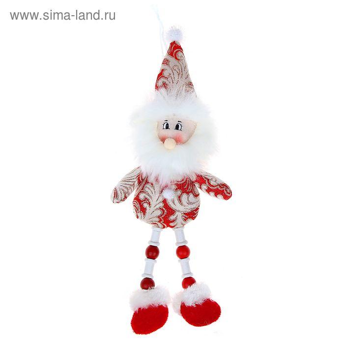 """Мягкая игрушка """"Дед Мороз"""" красные кружева, ножки-бусины"""