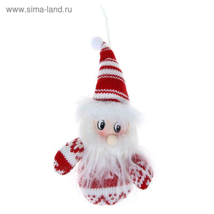 """Мягкая ёлочная игрушка """"Дед Мороз в свитерке-варежке"""""""