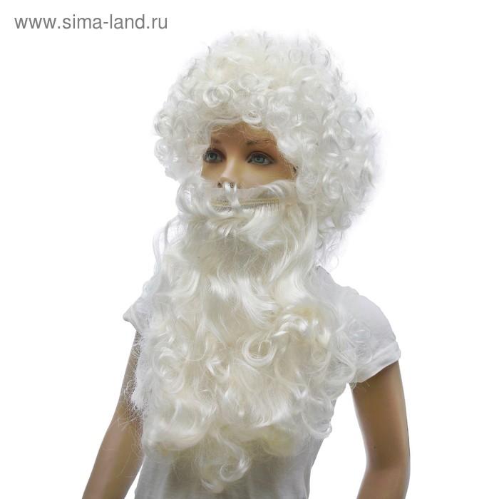 """Карнавальный набор """"Дед Мороз"""", кудрявая борода и парик"""