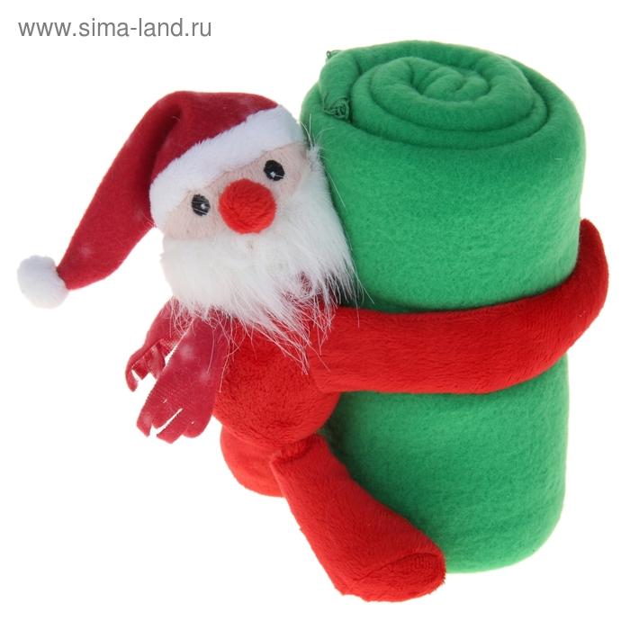 """Набор подарочный """"Этелька"""" НГ 2 пр Санта в колпачке, плед зеленый 75*100 см, флис"""