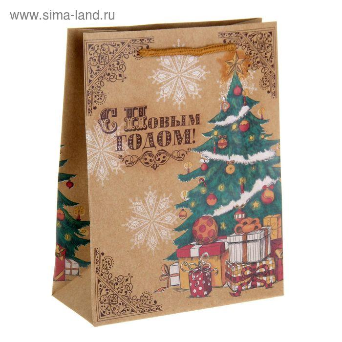 """Пакет вертикальный крафт """"Узорная елка"""", 18 х23 см, 180 г/м2"""