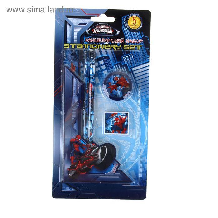 Набор канцелярский Spiderman: карандаши чёрнографитный 2шт, линейка 15см, ластик фигурный, точилка